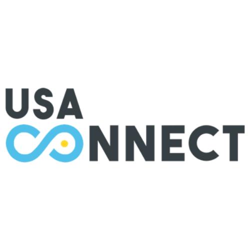 Logo blanc avec des triangles colorés internet-2